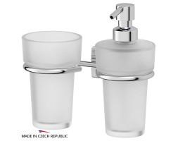Держатель со стаканом и емкостью для жидкого мыла матовый хрусталь FBS (Чехия) ESP 008