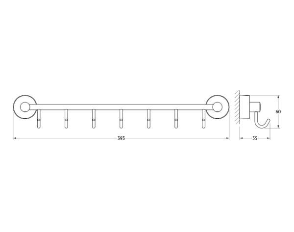 Держатель с семью крючками 40 см FBS (Чехия) NOS 028
