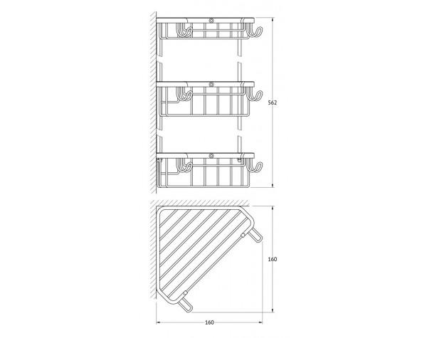 Полочка-решетка угловая трехъярусная 18/18/18 см FBS (Чехия) RYN 004