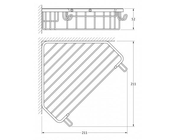 Полочка-решетка угловая 23 см FBS (Чехия) RYN 005