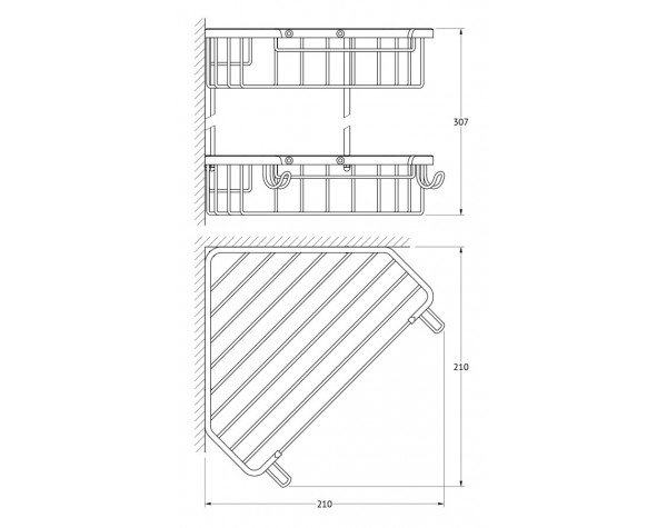 Полочка-решетка угловая двухъярусная 23/23 см FBS (Чехия) RYN 006