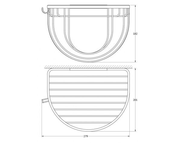 Полочка-решетка 26 см с держателями мочалок FBS (Чехия) RYN 031