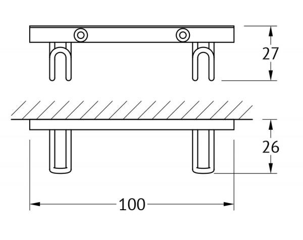 Планка с двумя крючками 10 см FBS (Чехия) RYN 033