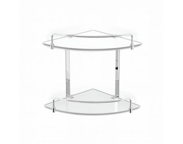 Полка стекло двухэтажная угловая с ограничителем Langberger (Германия) 70152
