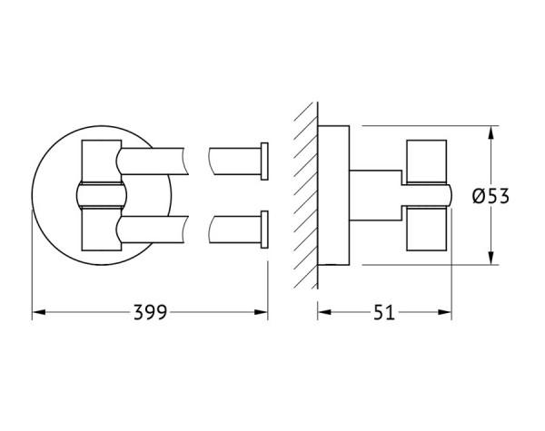 Держатель полотенец поворотный двойной 37 см ARTWELLE (Германия) HAR 023