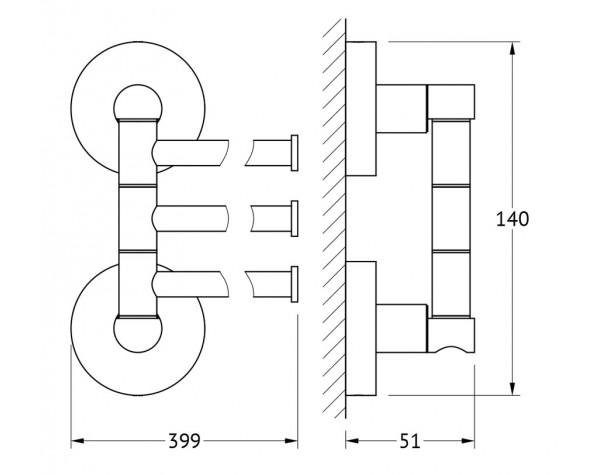 Держатель полотенец поворотный тройной 37 см ARTWELLE (Германия) HAR 024