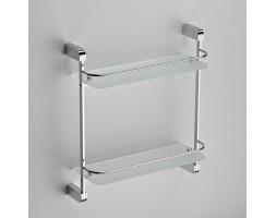 Полка прямая стекло с ограничителем двухэтажная Schein (Германия) Allom 2212