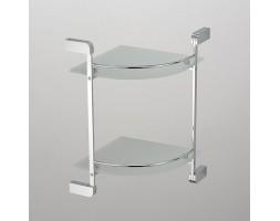 Полка угловая стекло с ограничителем двухэтажная Schein (Германия) Allom 2212B