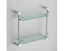 Полка прямая стекло с ограничителем двухэтажная Schein (Германия) Swing 3212