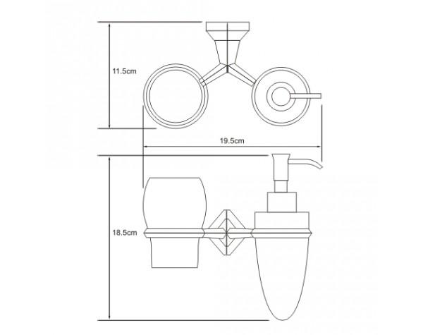 Держатель дозатора и стакана керамика WasserKRAFT (Германия) Aller 1189C