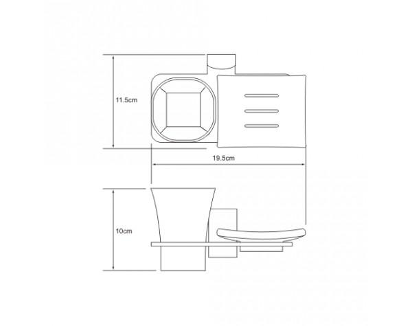 Держатель стакана и мыльницы WasserKRAFT (Германия) Leine 5026