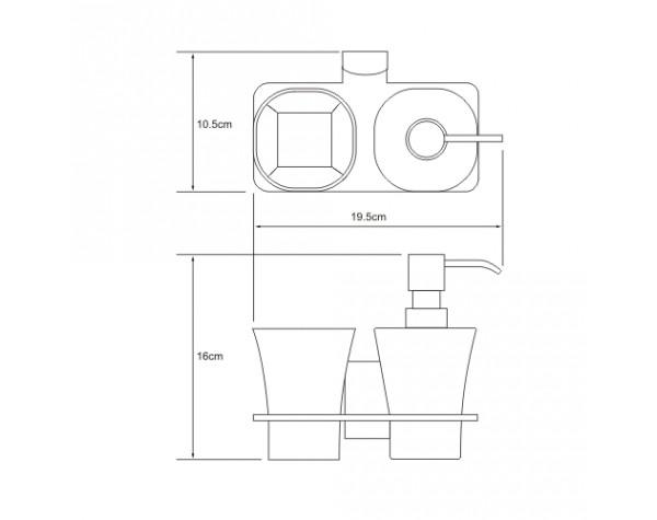 Держатель дозатора и стакана WasserKRAFT (Германия) Leine 5089