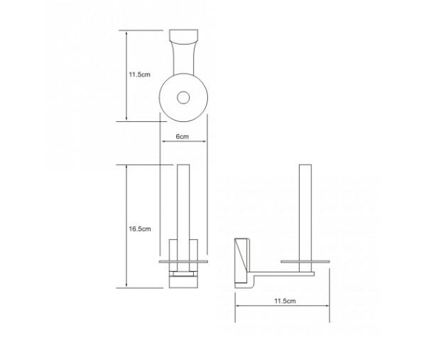 Держатель туалетной бумаги вертикальный WasserKRAFT (Германия) Leine 5097