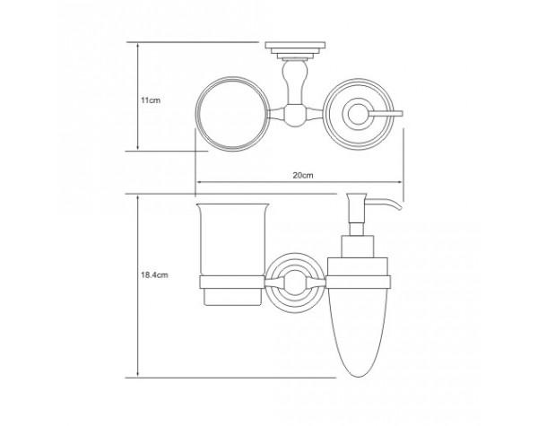 Держатель дозатора и стакана WasserKRAFT (Германия) Ammer 7089