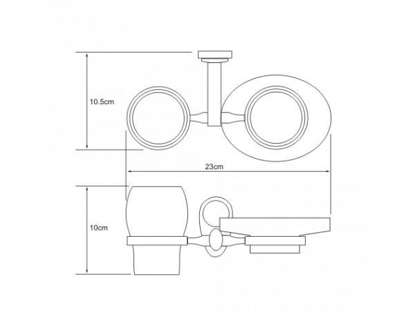 Держатель стакана и мыльницы керамика WasserKRAFT (Германия) Main 9226C