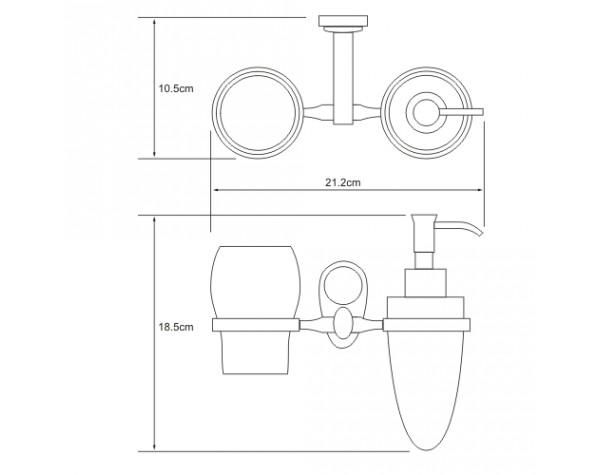 Держатель дозатора и стакана керамика WasserKRAFT (Германия) Main 9289C