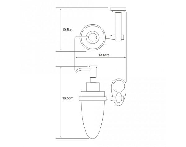 Дозатор жидкого мыла навесной WasserKRAFT (Германия) Main 9299