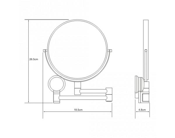 Зеркало косметическое с 3-кратным увеличением WasserKRAFT (Германия) 1000