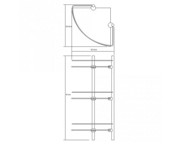 Полка стеклянная угловая тройная WasserKRAFT (Германия) 3133