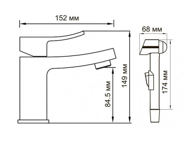 Смеситель для умывальника с гигиенической лейкой WasserKRAFT (Германия) Aller 1068