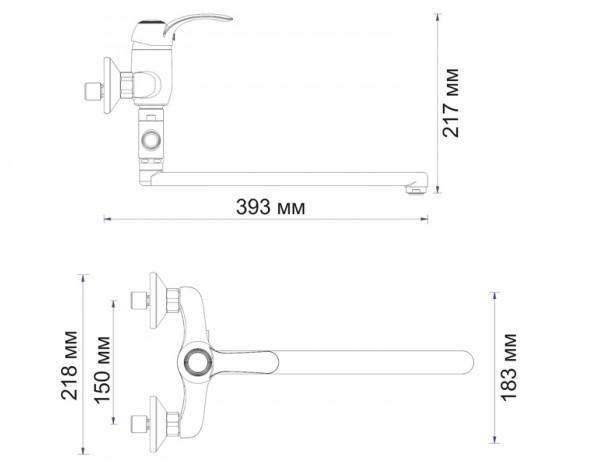 Смеситель для ванны с длинным изливом 350 мм WasserKRAFT (Германия) Isar 1302L