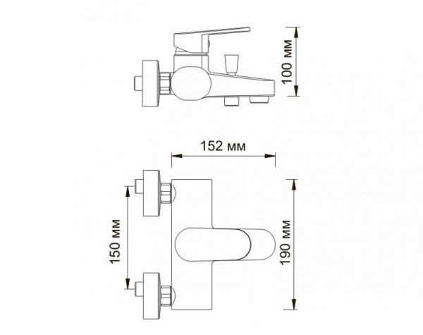 Смеситель для ванны с коротким изливом WasserKRAFT (Германия) Donau 5301