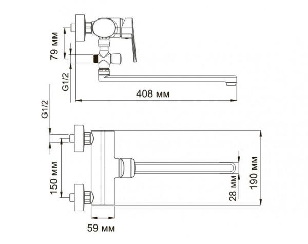 Смеситель для ванны с длинным изливом WasserKRAFT (Германия) Donau 5302L