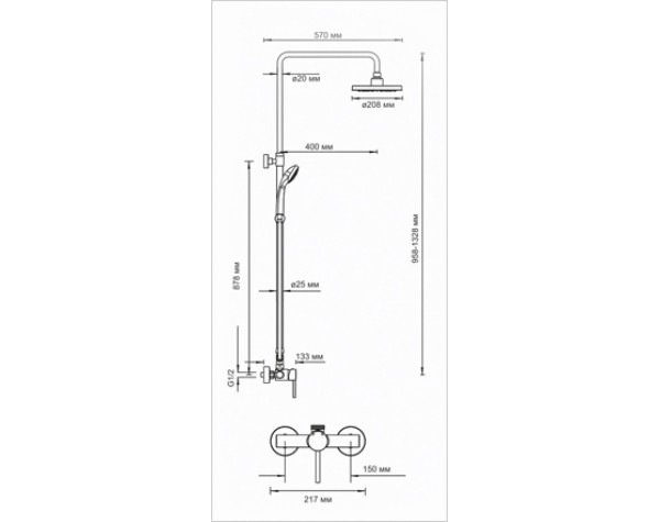 Стойка для душа со смесителем раздвижная WasserKRAFT (Германия) A12202
