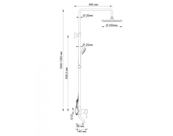Стойка для душа со смесителем WasserKRAFT (Германия) A14401